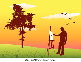 man sanding on summer lawn near tree and painting on easel,...