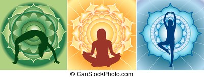 silhouette of yoga girls on bright mandala backgrounds,...