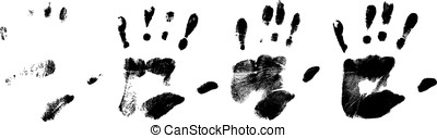 different black hand rprints, vector - different black handr...