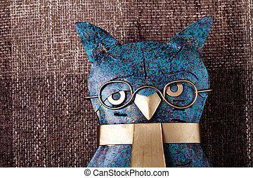 abstract owl on a brown background