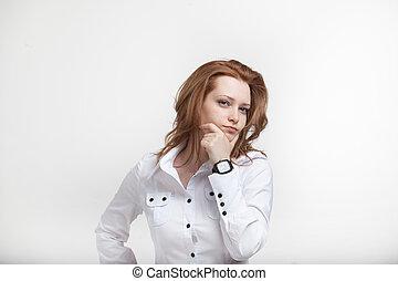 jovem, negócio, mulher, pensando, ligado, branca,...