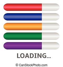 Loading - Colored Loading bar icon set Vector illustration