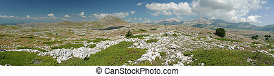 panoramic view of Campo Imperatore plateau in Abruzzo,...