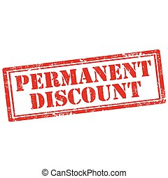 Permanent Discount - Grunge rubber stamp with text Permanent...