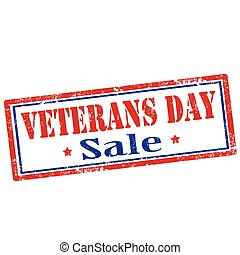 Veterans Day - Stamp with text Veterans Day-Sale,vector...