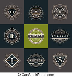 Set of monogram logo template with flourishes calligraphic...