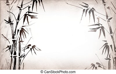 bamboo painted on textural grunge horizontal background....