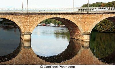 tríptico, de, Un, Puente, en, Auxerre, ,