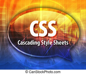 CSS, akronym, Definition, vortrag halten, Blase, abbildung,