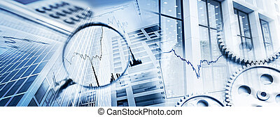Symbols of Business and Finance - Magnifier, gears, charts,...