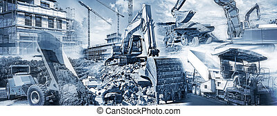Construction equipment and building sites - Various types of...