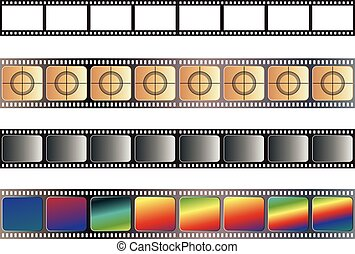 Old Film Tape - Set of different old film tapes on white...