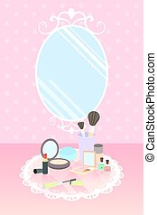 cosmetics on lace mat and mirror on pink polka dot wallpaper