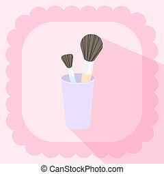 brushes in glass flat icon on pink background