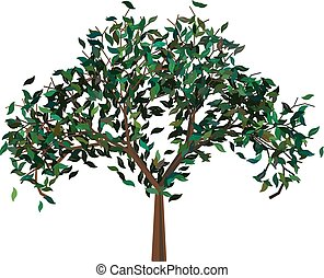 Tree with Green Leafage - Abstract cartoon tree with...
