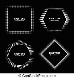 Set of White Abstract Halftone Circles