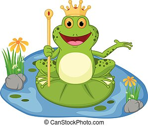 prince frog cartoon presenting - Vector Illustration of...