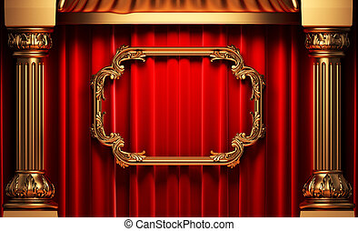 red curtains, gold columns and frame made in 3d