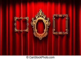 red curtains, gold frame made in 3d