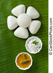 Indian idly served as a flower - Fresh steamed Indian Idly...