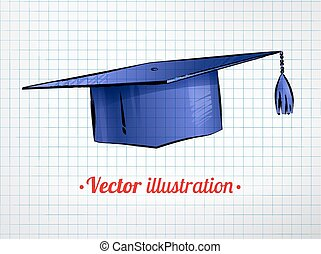 Mortarboard. - Hand drawn color vector illustration of...