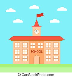 School Icon - Building School Icon on Blue Sky Bakground...