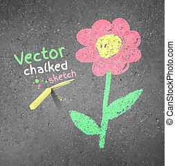 Chalk drawing of flower - Chalk drawing of flower on grunge...