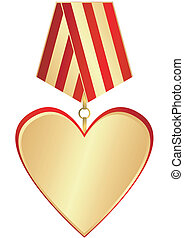 Gold medal-heartl with red and golden striped ribbon on...