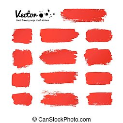 Red paint brush strokes. - Vector grunge red paint brush...