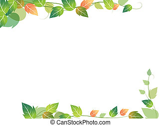 leaves - drawing of green leaves in a white background