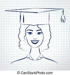 Student girl wearing graduation hat. Vector hand drawn...