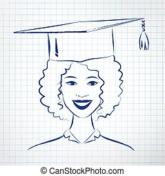 Student girl wearing graduation hat Vector hand drawn sketch...