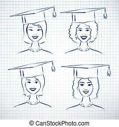 Female students - Female students wearing graduation hat...