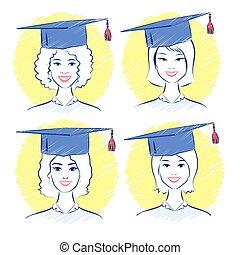 Young women wearing graduation cap.
