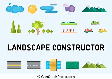 Abstract landscape constructor icons set. Buildings, houses,...