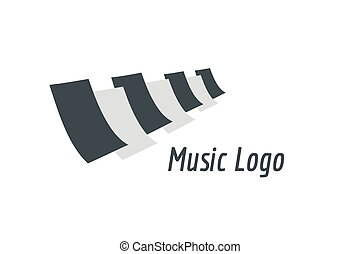 Music piano keys logo icon template. Melody, classic, note symbol or paper, book, jazz song, royal buttons. Design element.