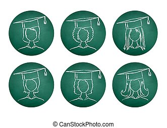 Chalkboard drawings of degree students. - Vector collection...