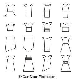 Women clothing icons set