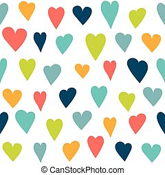 Stylized heart seamless pattern White isolated background,...