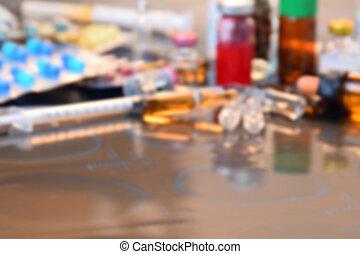 confuso, de, vidrio, Medicina, frascos, Medicina,...