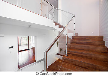 Wooden stairs with elegant balustrade - Image of solid...