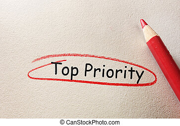 Top Priority circled in red on textured paper...
