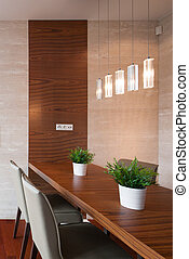 Dining room with decorative lighting