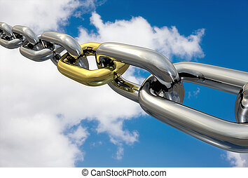 Chains Golden Link, isolated - Row of chrome chains with a...