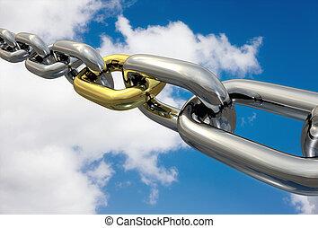 cadenas, dorado, enlace, aislado