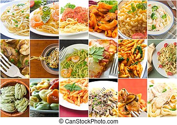 Pasta Food Collage - Popular pasta Italian dishes in food...