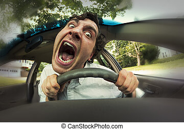 Car Crash Face - Silly man gets into car crash and makes...