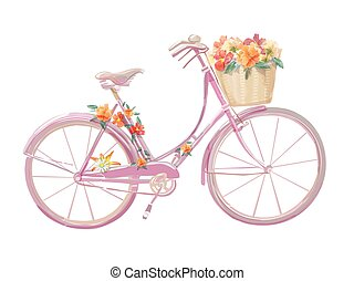 Watercolor illustration of a pink bicycle with flowers,...