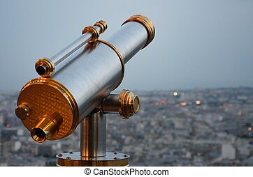 Vintage Telescope looking over city