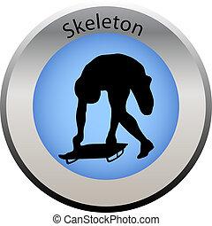 winter game button skeleton
